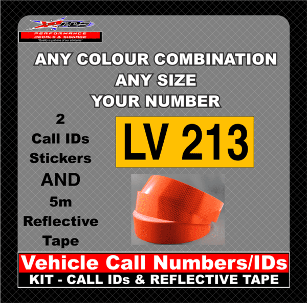 vehicle call numbers ids kit call id and reflective tape