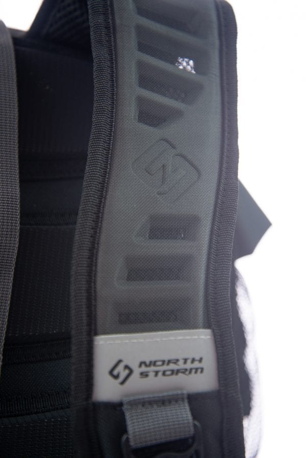 close up shot of the moulding of the quick dry straps on the back of the North Storm 30 litre waterproof backpack